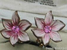 PRETTY VINTAGE PINK DIAMANTE AND COLD PAINTED ENAMEL FLOWER CLIP EARRINGS ~