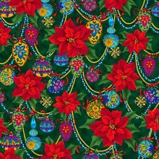 Christmas Splendor, Poinsettia & Ornaments, Green, Quilting Treasures By 1/2 yd