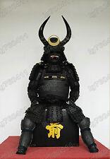 Best offer Japanese armor Mens Black Samurai Big Horn Suit of Armor Helmet Mask