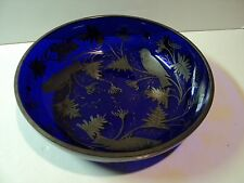 Vintage Cobalt Blue Glass Bowl with Silver Overlay, bird pattern. Beautiful.
