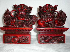 High Quality Pair Chinese Red Foo Lion Dogs On Stands
