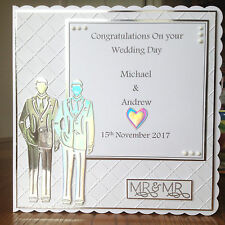 "Handmade 8x8"" Personalised Mr & Mr Wedding Card, same sex, male, gay"