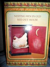 COUNTRY HARVEST COLLECTION NESTING NEST HEN CHICKEN IN RED OUTHOUSE DECOR NIB