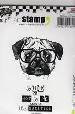 New Carabelle Studio Cling Rubber Stamp PUG DOG SET 2 B OR NOT 2 B free usa ship