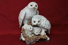 4 Porcelain Snowy Owls Danbury Mint by Katsumi Ito 1989 Statue Art Sculpture