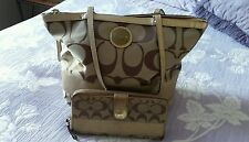 COACH Khaki Brown Gold Canvas Tote  Handbag 10124 with matching Zipper Wallet.