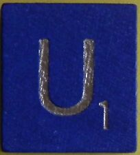 Single Scrabble Blue Wood Letter U Tile One Only Replacement Game Part Pieces