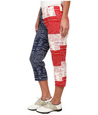 Women Loudmouth Golf Declaration Of Indepants Golf Capri Pants Patriotic 0 X 22