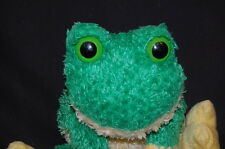 "DAN DEE BIG EYED FLOPPY GREEN YELLOW FROG 12"" PLUSH STUFFED ANIMAL LOVEY TOY"
