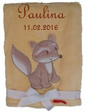 Babydecke gelb Fuchs mit Namen bestickt Baby Decke Taufe Geburt Geschenk Name