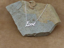 """New Solid 925 Sterling Silver 'Love' Necklace Jewellery 18"""" Gift Box"""