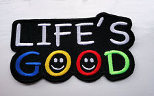 P4 Life's GOOD : ) Funny Humour Iron Patch Motorcycle Laugh Biker Happy Smiley