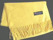 100% Cashmere Winter Scarf Scarve Scotland Warm Solid Yellow Shawl Wrap Neck NEW