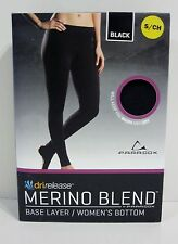 New Base Layer Pants Bottoms Size S Merino Wool Blend Black