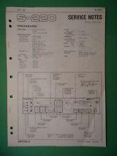Original ROLAND Service Notes- S-220 Digital Sampler *Used*