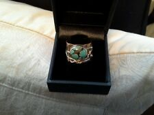 Copper and silver ring set with matrix turquoise by paula bolton in box