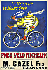 Art Ad Pneu Velo Michelin man  Tyres Tires  Deco  Poster Print