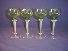 Set 4 St Louis France Emerald Green Air Twist Stem Wine Glasses