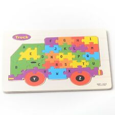 Truck Wooden ABC Alphabet Educational Learning Children's Puzzle Jigsaw Kids Toy