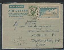 BURMA (P0406B)  1953   UPRATED AEROGRAMME TO INDIA