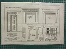 1877 DATED ARCHITECTURAL PRINT ~ THE OAKS WEST BROMWICH FIREPLACE DETAILS PANELS