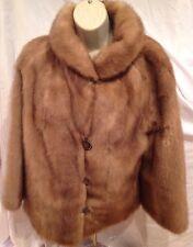 Vintage Diane Furs Blonde Mocha Brown Real Genuine Mink Fur Coat Jacket S / M