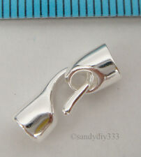 1x BRIGHT STERLING SILVER PLAIN LEATHER END CAP 3mm CORD with HOOK CLASP #2140