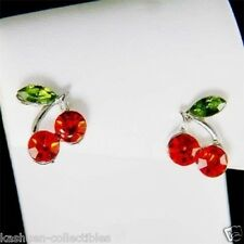 w Swarovski Crystal fruit HOT Red Juicy CHERRY Sexy stud Post Earrings Xmas Gift