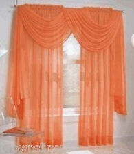 "SET OF 2 SHEER VOILE CURTAINS 84"" LONG ORANGE"