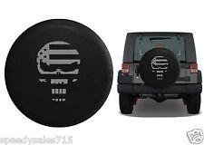 """Gray American Flag Punisher Skull Wheel Spare Tire Cover Vinyl Black 32-33"""" New"""