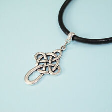 Antique Silver Alloy Ancient Celtic Knot Cross Necklace Black Leather Cord NEW