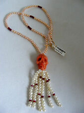 Carved Coral Skull  Genuine Ruby Bead and Pearl Tassel Necklace 14K Clasp