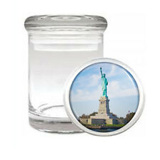 Famous Landmarks D9 ODORLESS AIR TIGHT MEDICAL GLASS JAR Statue of Liberty NYC
