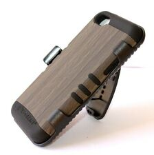 For iPhone 5C - GRAY WOOD HARD&SOFT HYBRID ARMOR CASE COVER w/ BELT CLIP HOLSTER