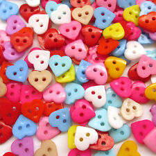 300pcs 10mm Mini Plastic Heart Button 2Holes Craft Clothe Sewing Wholesale