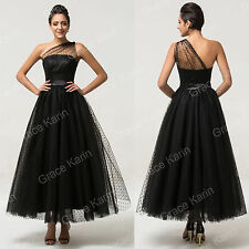 LONG Black Vintage Formal Evening Ball Gown Cocktail Prom Party Masquerade Dress