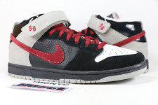 NIKE DUNK MID SB USED SIZE 11 NOVEMBER RAIN BLACK CRIMSON RED GREY 314381 061