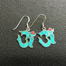 OM Turquoise Drop Earrings - 925 Sterling Silver Ohm Om *NEW* Namaste Yoga India