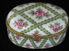 Miniature Limoges China Hinged Trinket/Pill Box Excellent Condition