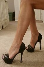 bebe Belinda Sexy Black D'orsay Stiletto High Heel Platform Sandals Size 8