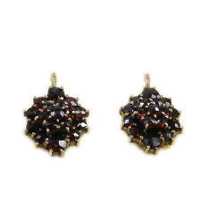 Vintage Granat Ohrringe Böhmischer Granat 900 Silber vergoldet Garnet Earrings