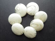 1960's Vintage Sm Mottled Cream and Clear Coat Blazer Dress Buttons-Set 20mm