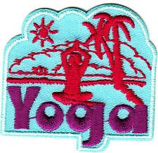 """YOGA"" w/PALM TREE & SUN - Iron On Embroidered Patch - Exercise,  Sports, Words"