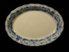 SIGNED MYOTT SON & CO. IMPERIAL SEMI PORCELAIN IRIS FLOW BLUE PLATTER - C 1905