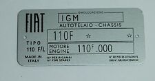 CLASSIC FIAT 500 L  CHASSIS PLATE- HIGHEST QUALITY