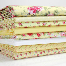 8 x FQ BUNDLE - YELLOW ROSE FLORAL - 100% COTTON FABRIC dots roses PATCHWORK