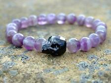Men's Amethyst Skull Bracelet with Swarovski Black Crystal 7-8inch Elasticated