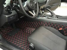 Quilted Leather Floor mats for Mazda Miata MX-5 ND Mk4 Classic Black Red