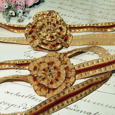 1y VTG FRENCH BROWN GOLD METALLIC VELVET RIBBON WORK ART FLOWER TRIM MILLINERY