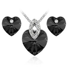 Black Hearts Crystal Jewellery Set Stud Earrings & Pendant Necklace S873
